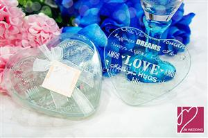 WCOA2013 Love Quote Heart Glass Coasters (2 Pcs) - As Low As RM3.31 / Set