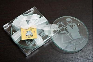 WCOA2021 Bride and Groom Glass Coasters (2Pcs)  - As Low As RM3.31 / Set