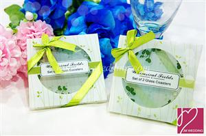 WCOA2022 Whimsical Fields Spring Leaf Coasters Wedding (2Pcs)  - As Low As RM3.31 /Set