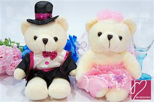 WDOL1001 Pink Western Wedding Bear /pair 情侣娃娃