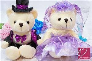 WDOL1002 Purple Western Wedding Bear /pair  情侣娃娃