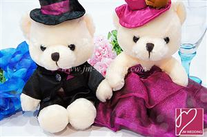 WDOL1006 Purple Western Wedding Bear /pair 情侣娃娃