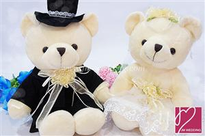 WDOL1008 White Western Bear /pair 情侣娃娃