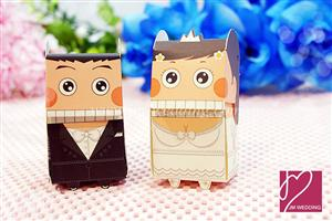 WPB2016 Bride & Groom Wedding Favor Boxes (Western Style) - As Low As  RM0.45 / pc