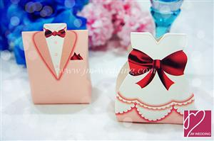 WPB2035 Pink Bride & Groom Favor Boxes  - As low as RM0.40/ pc
