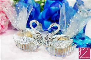 WPLB2002 Elegant Silver Crystal Swan PVC Favor Box- As low as RM2.29/Pc