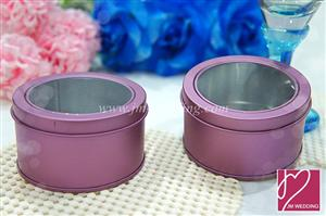 WSB2006-2 Purple Round Tin Containers With Clear Lids - As low as RM1.60 /Pc